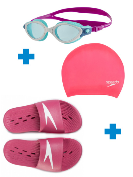 Комплект Плувни очила + Плувна шапка + Джапанки за жени